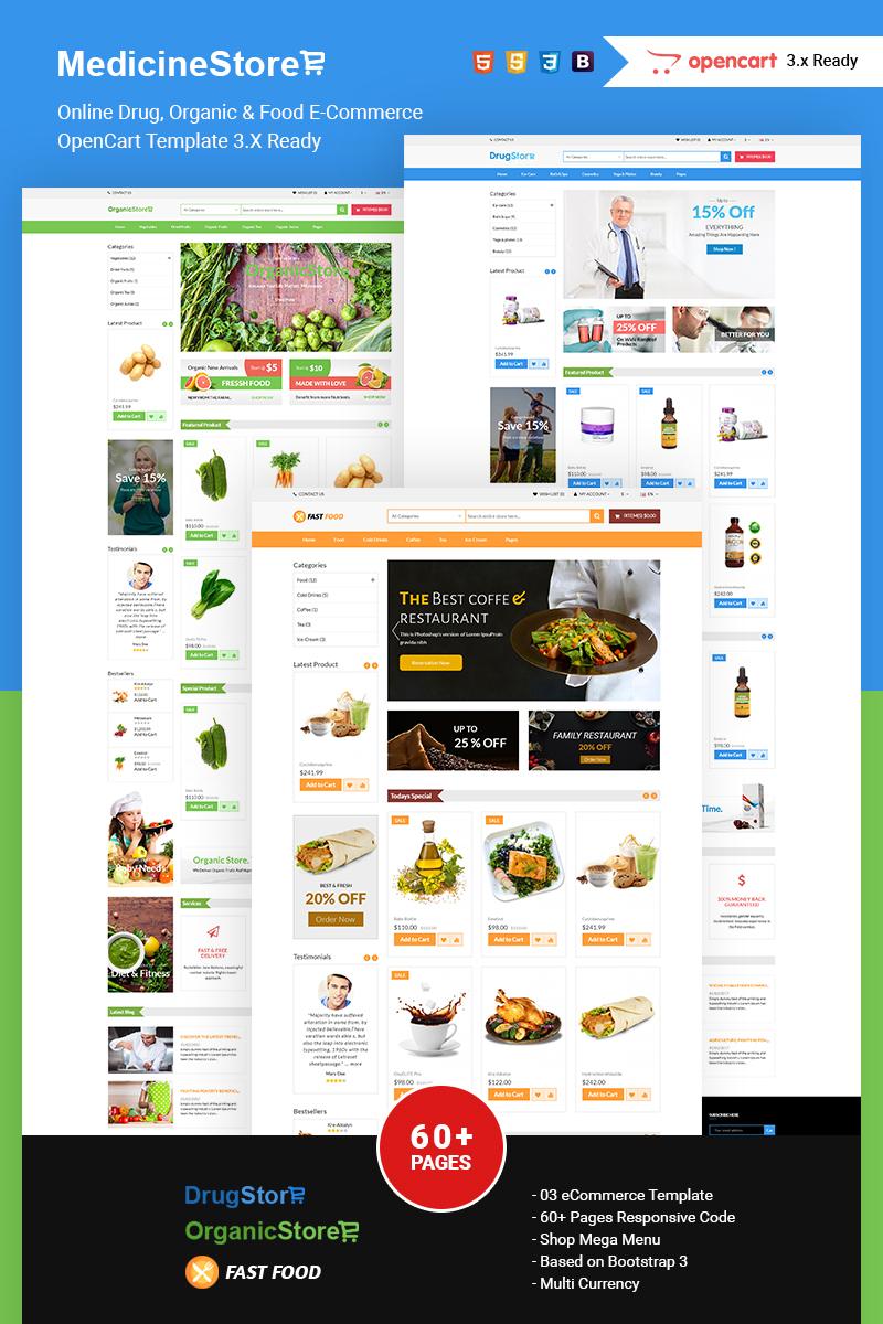 """Medicine Store Online Drug, Organic & Food E-Commerce"" 响应式OpenCart模板 #74817"
