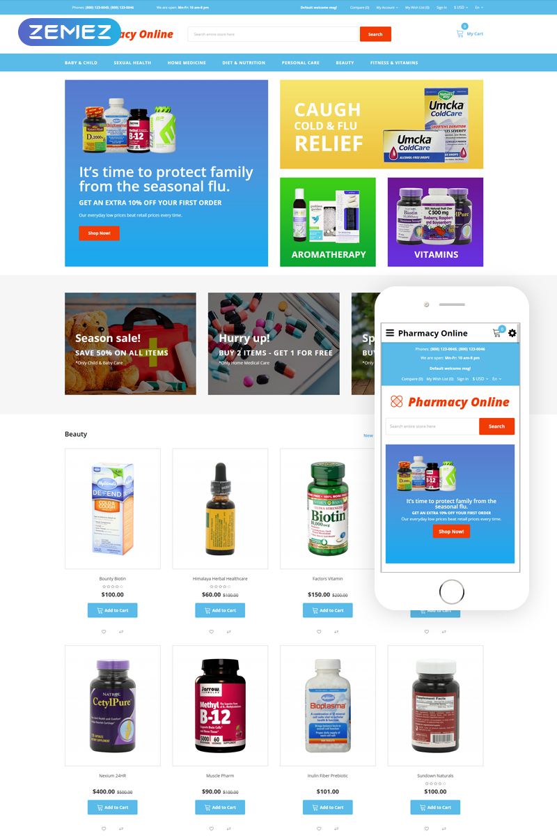 Pharmacy Online - Drug Store OpenCart Template