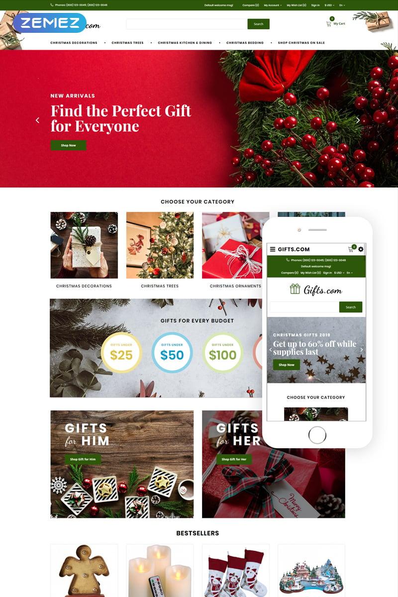 "Plantilla OpenCart ""Gifts.com - Christmas Presents Shop"" #74854"