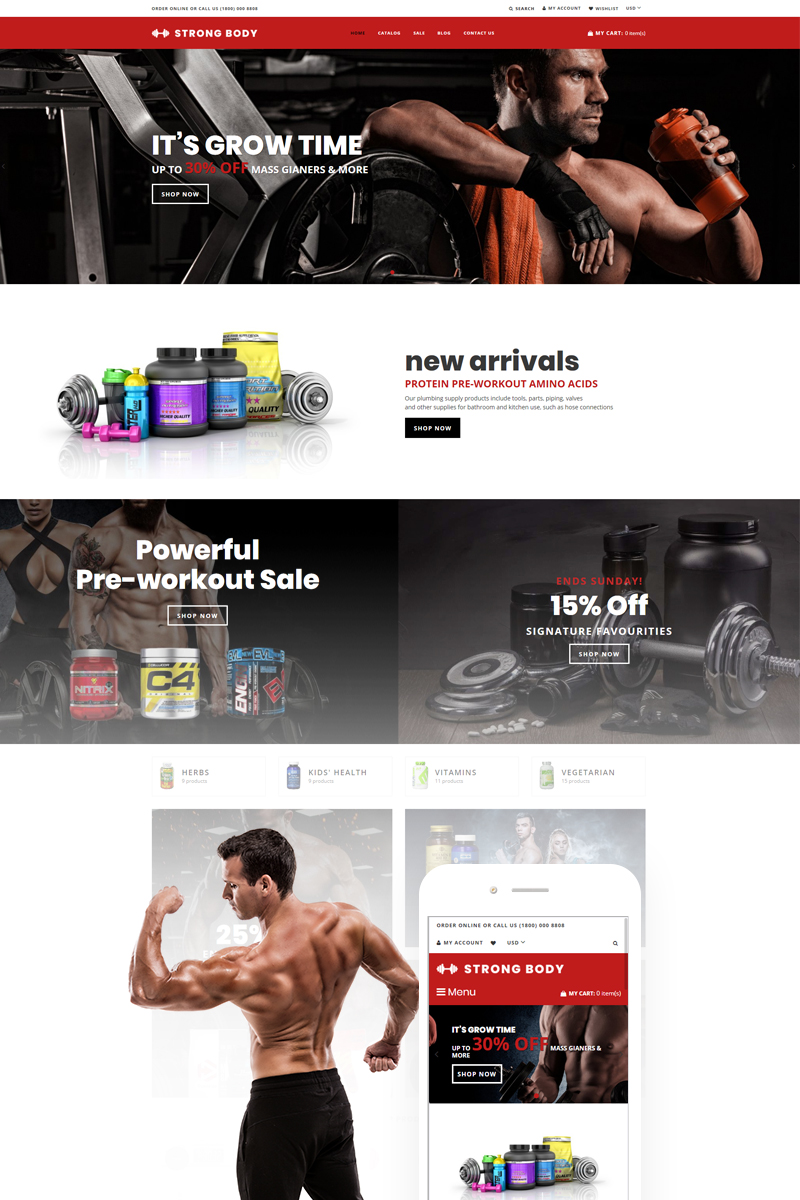 Responsywny szablon Shopify Strong Body - Sports Nutrition #74859