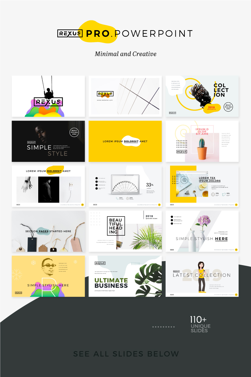 Rexus Pro Minimal & Creative Template PowerPoint №74839