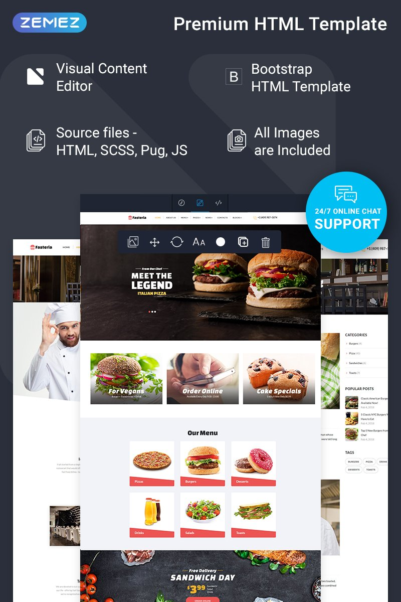 "Tema Siti Web Responsive #74835 ""Fasteria - Restaurant Ready-to-Use"""