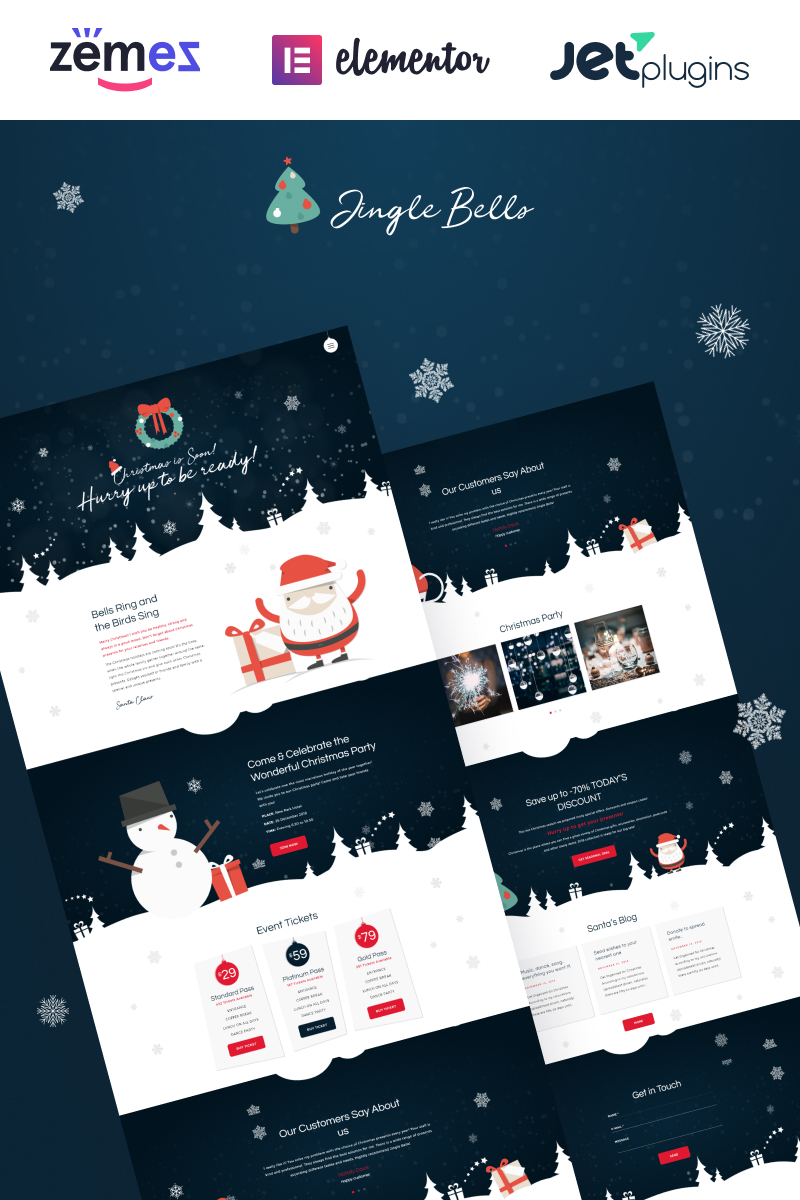 "Tema WordPress Responsive #74802 ""Jingle Bells - Event Making Holiday Party Website"""