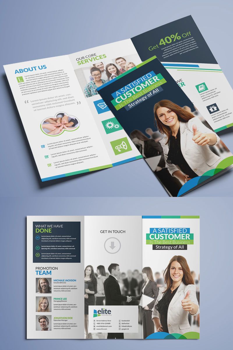 """Unternehmensidentität Vorlage namens """"Clean Tri-Fold Brochure"""" #74842"""