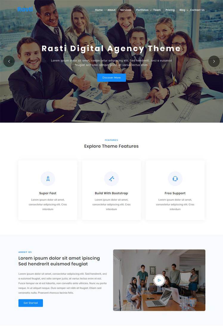 Rasti Digital Agency One page WordPress Theme