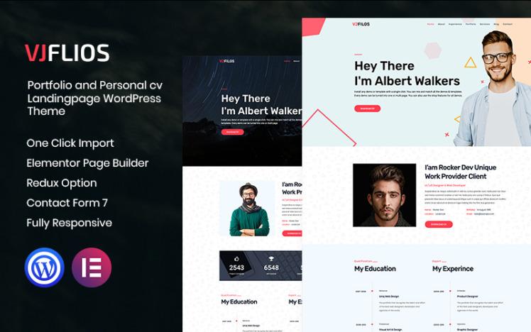 Vjflios Portfolios and Personal CV Landingpage WordPress Theme