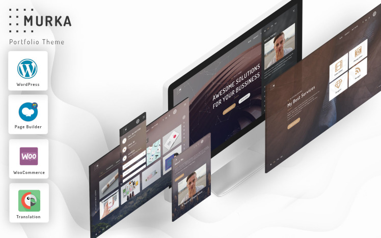 Murka Full Screen Personal Portfolio WordPress Theme