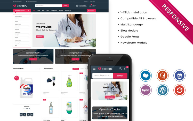 Doctian The Medical Store Responsive WooCommerce Theme