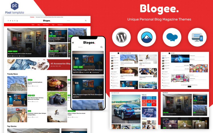 Blogee MultiConcept Blog News WordPress Theme