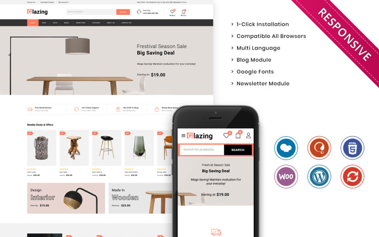Glazing The Furniture Store Responsive WooCommerce Theme