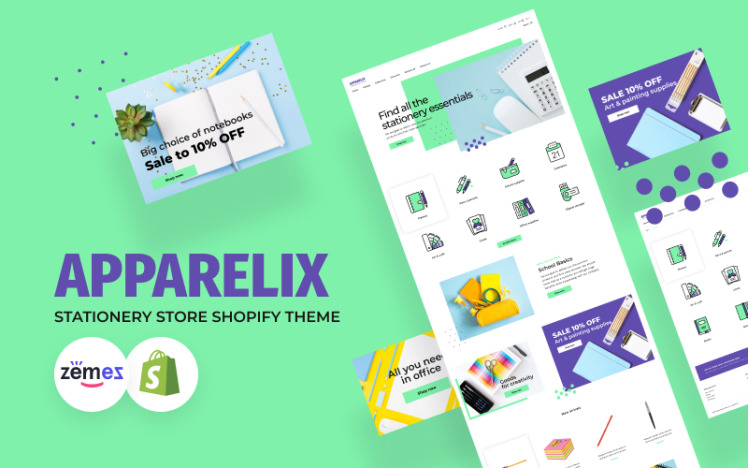 Apparelix Stationery Clean Shopify Theme