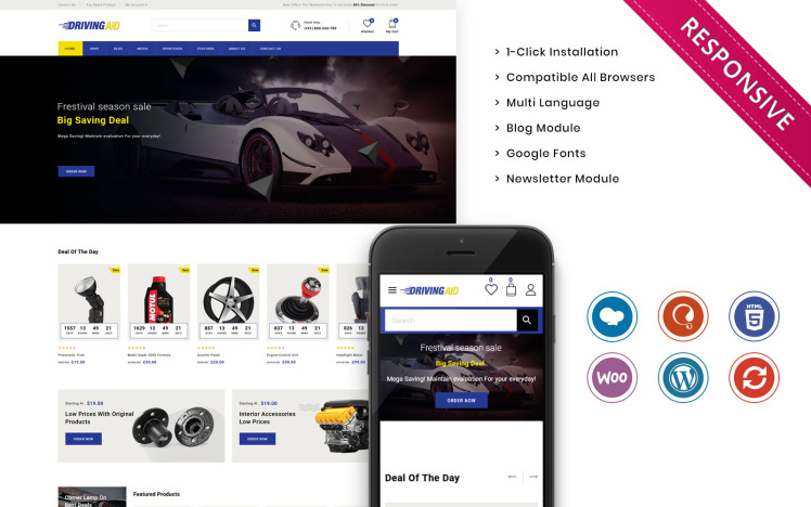 Drivingaid The Automobile Store Responsive WooCommerce Theme