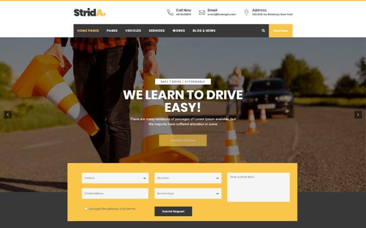 Strida Driving School WordPress Theme