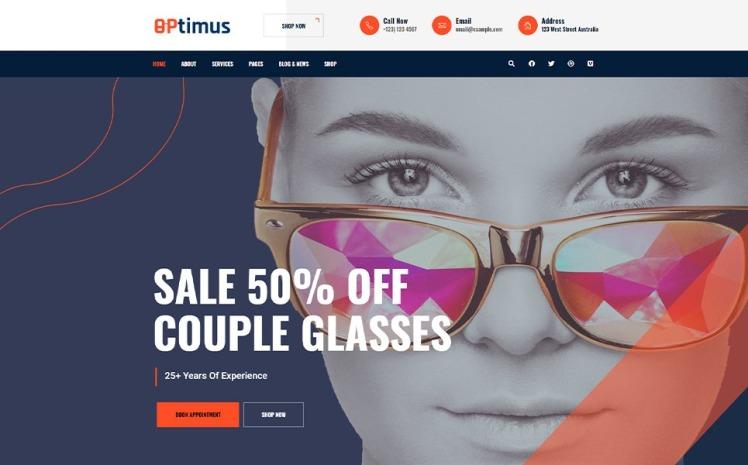 Optymus Optic Glasses Store WordPress Theme