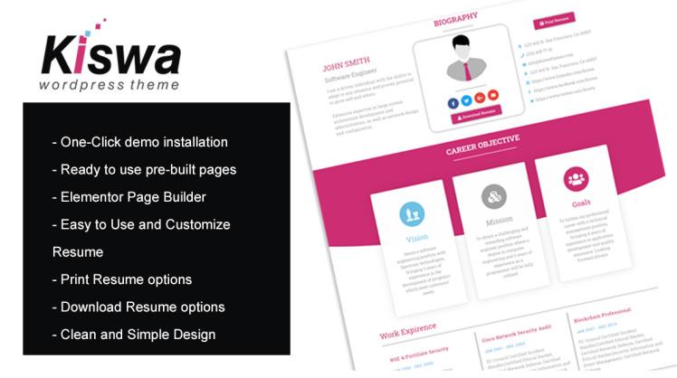 Kiswa Parallax Resume WordPress Theme