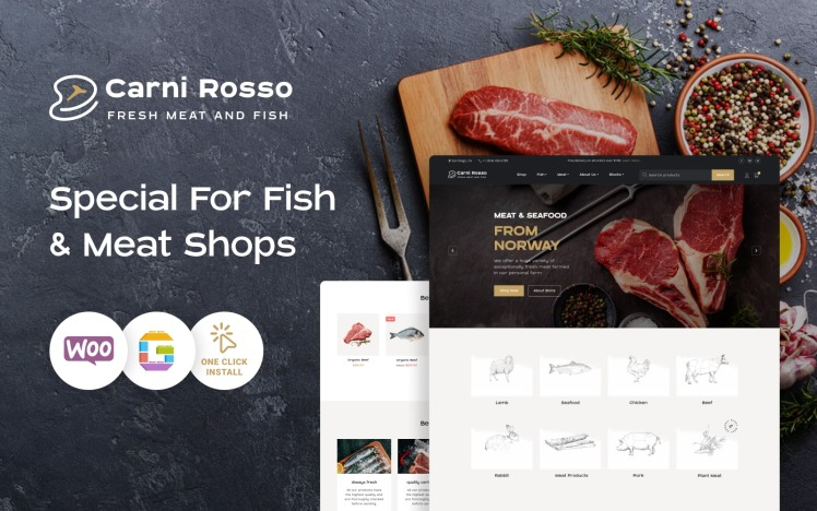 Fish and Meat WooCommerce Theme Carni Rosso