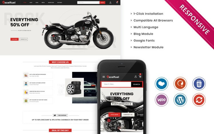 Excelfuel The Automobile Store Responsive WooCommerce Theme