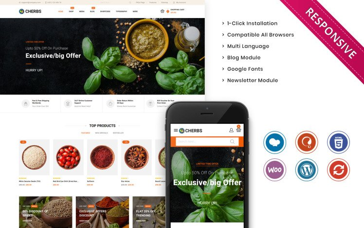 Cherbs The Spices Store Responsive WooCommerce Theme