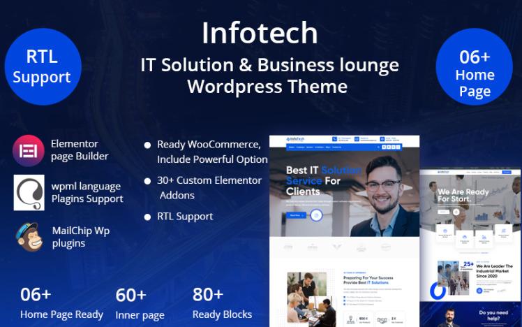 Infotech IT Solution amp Business lounge WordPress Theme