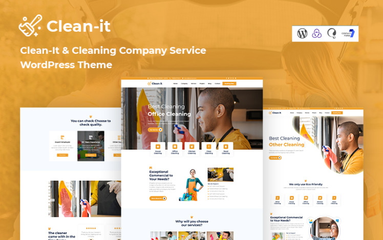 CleanIt Cleaning Company Service Responsive WordPress Theme