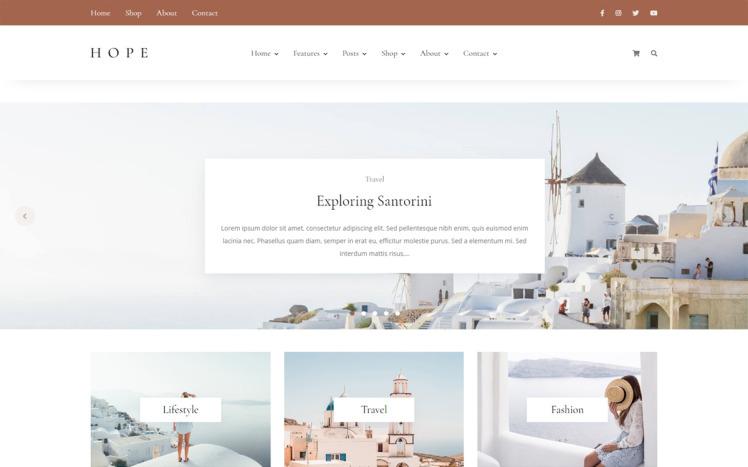 Hope Blog amp Shop WordPress Theme