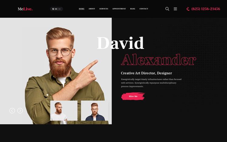 MeLive Personal Portfolio WordPress Theme