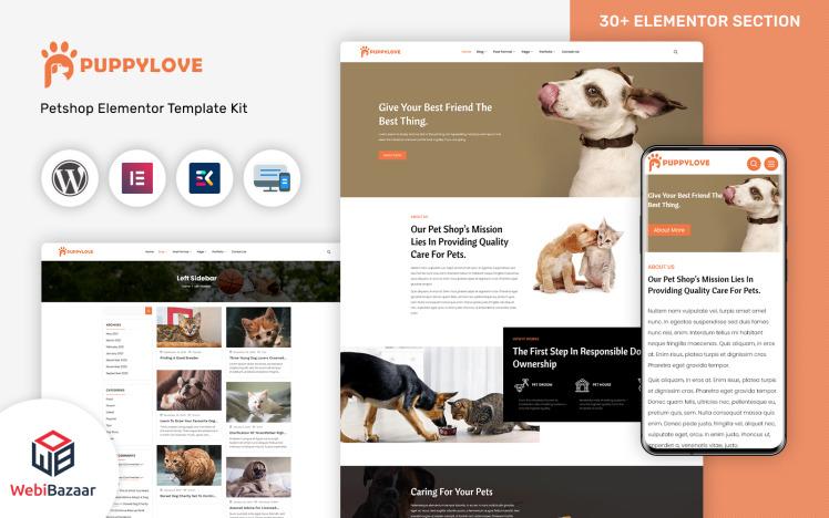 PuppyLove Pet Services Multipurpose WordPress Elementor Theme