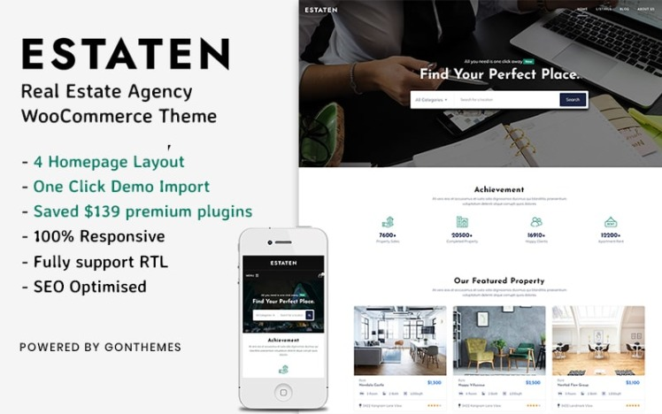 Estaten Real Estate Agency WooCommerceTheme