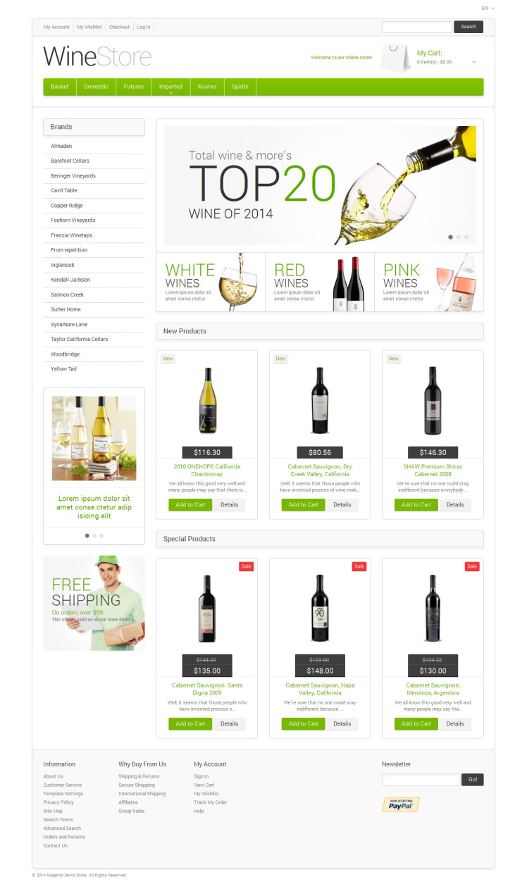 Wine for Your Delight Magento Themes