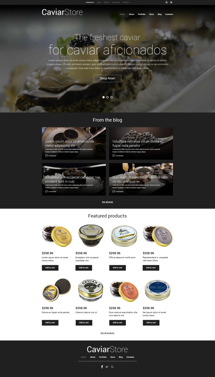 Caviar Online Store WooCommerce Themes
