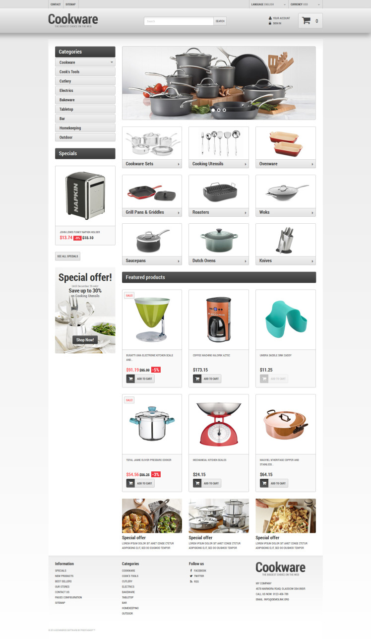 Kitchen Supplies Store PrestaShop Themes