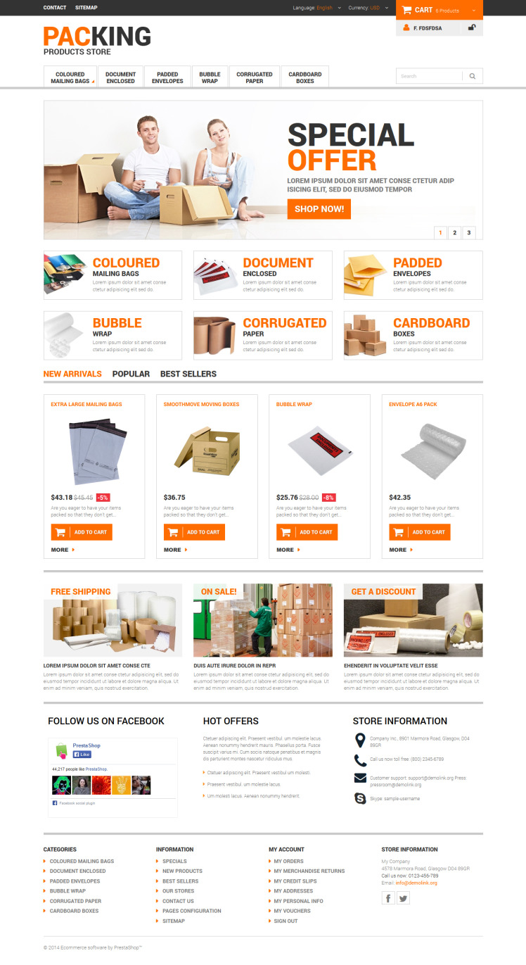 Excellent Packing Services PrestaShop Themes