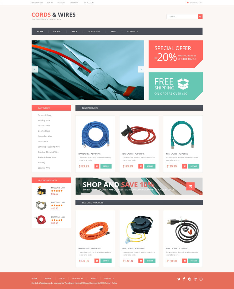 Cords Wires Store WooCommerce Themes