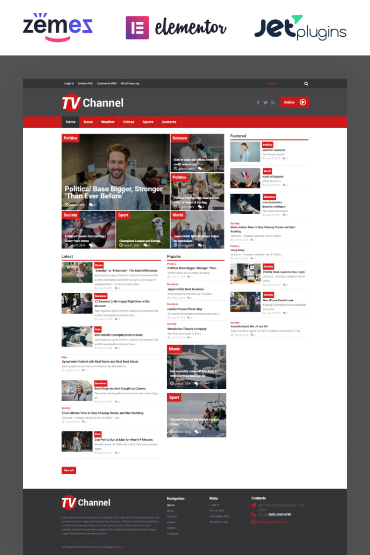 TVChannel News Portal Modern Elementor WordPress Themes