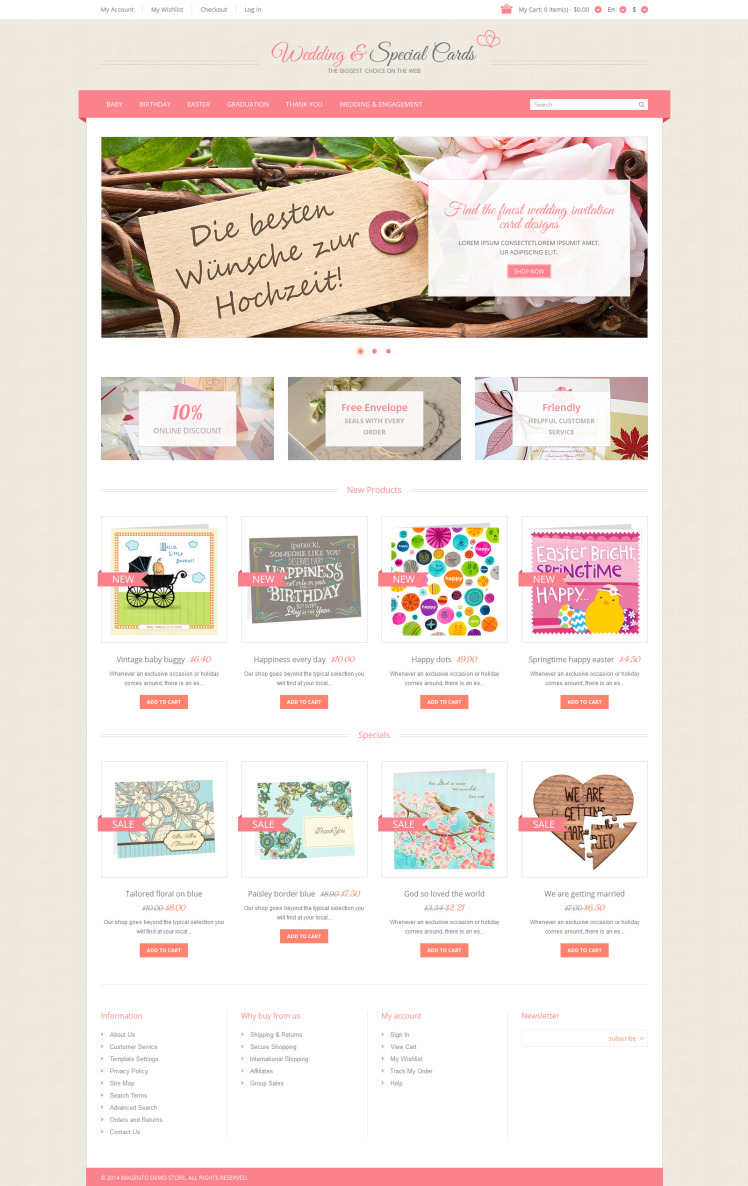 Special Occasion Cards Magento Themes
