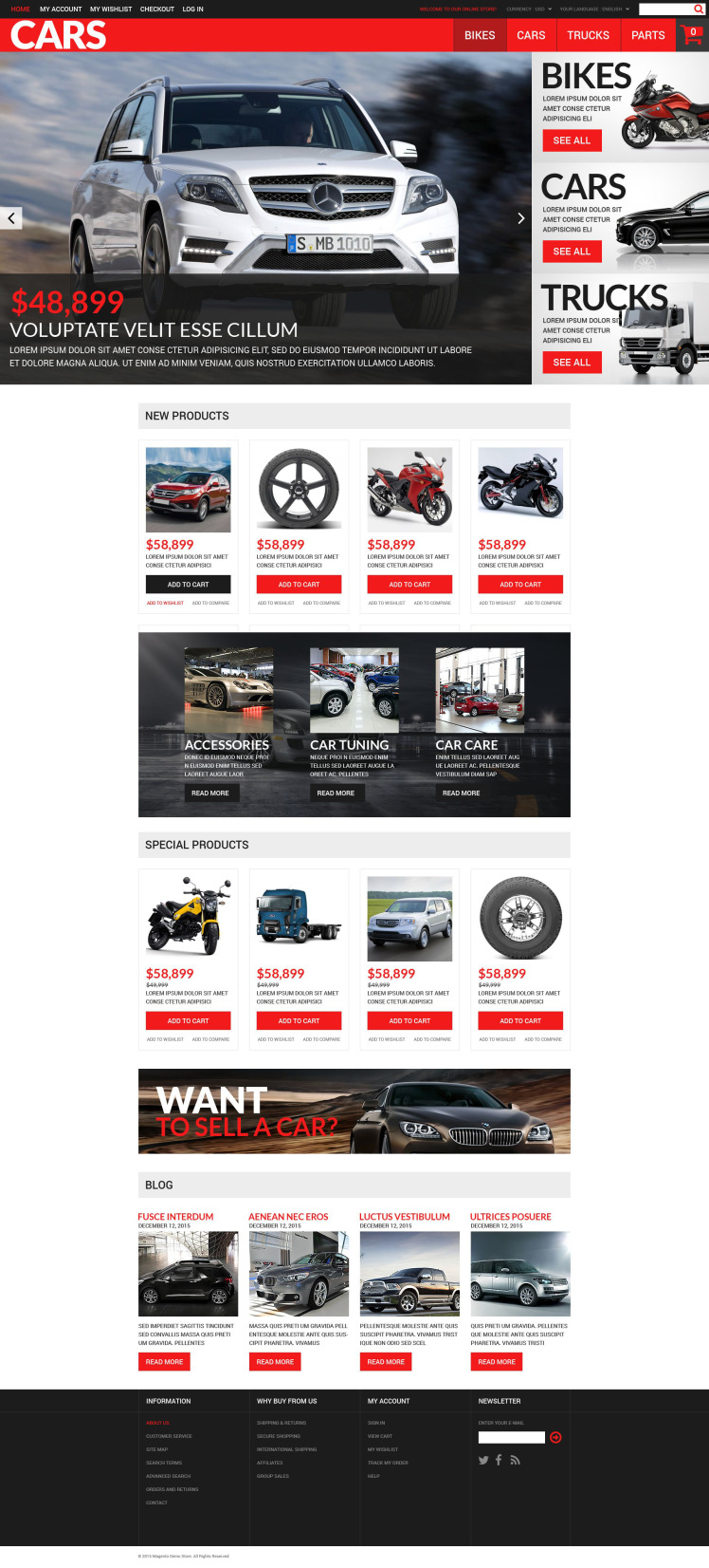 Successful Auto Dealers Magento Themes