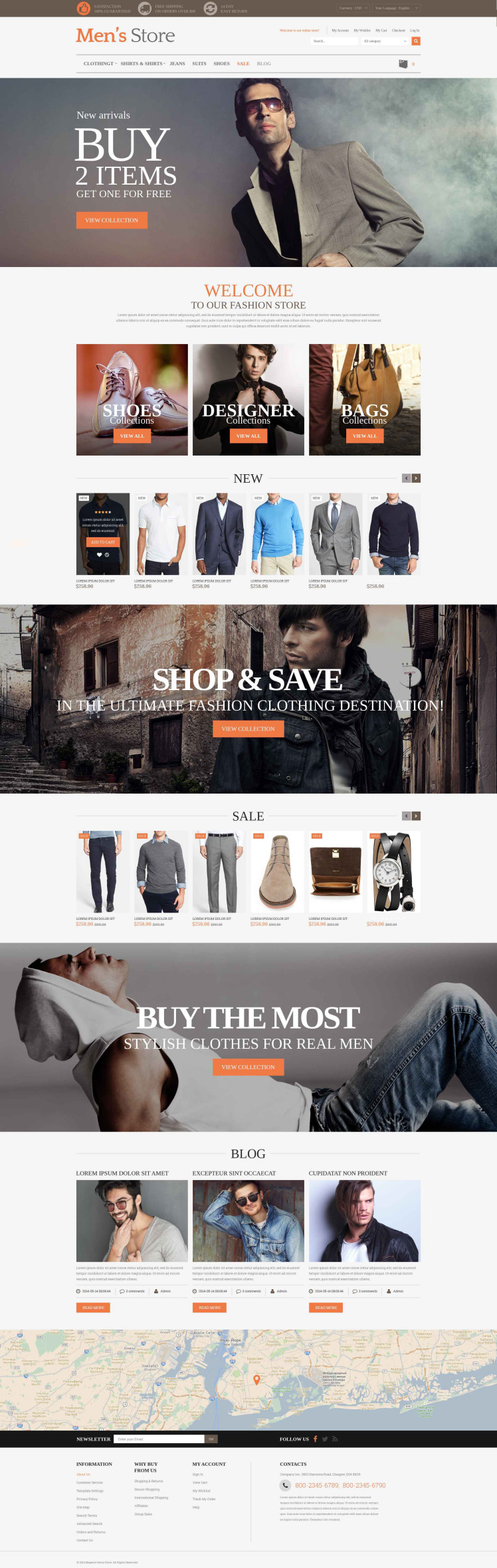 Mens Clothing Style Magento Themes