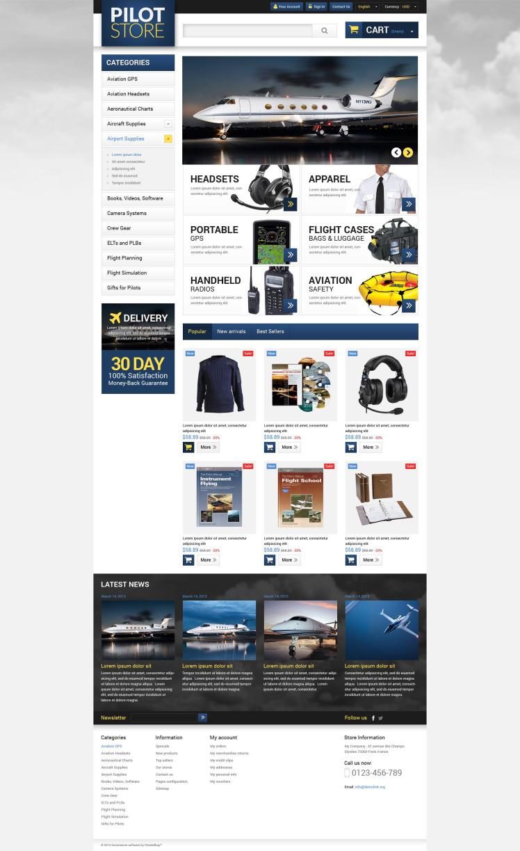 Aviation Equipment PrestaShop Themes