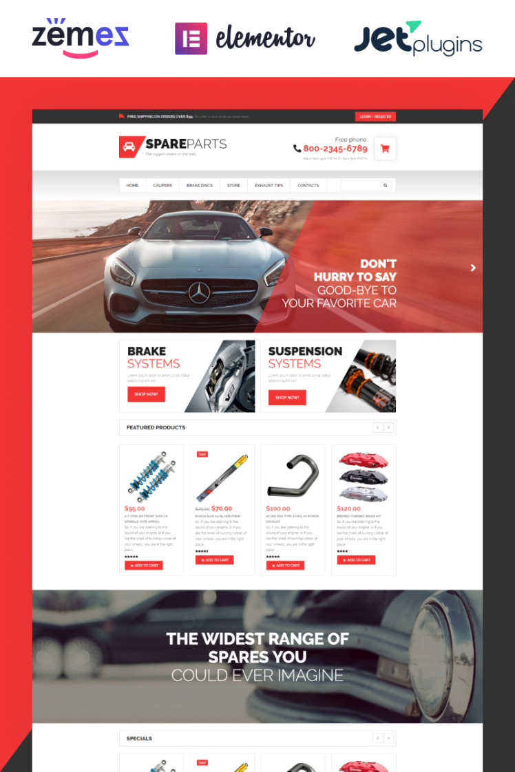 SpareParts Spare Parts Shop ECommerce Modern Elementor WooCommerce Theme
