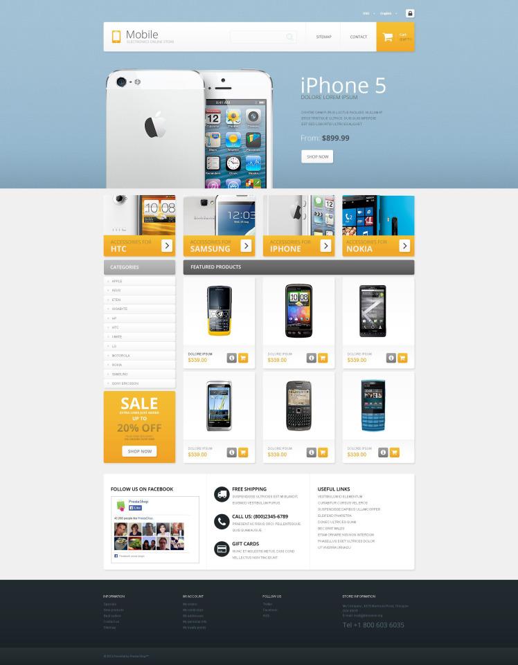 Mobile Electronics Store PrestaShop Themes