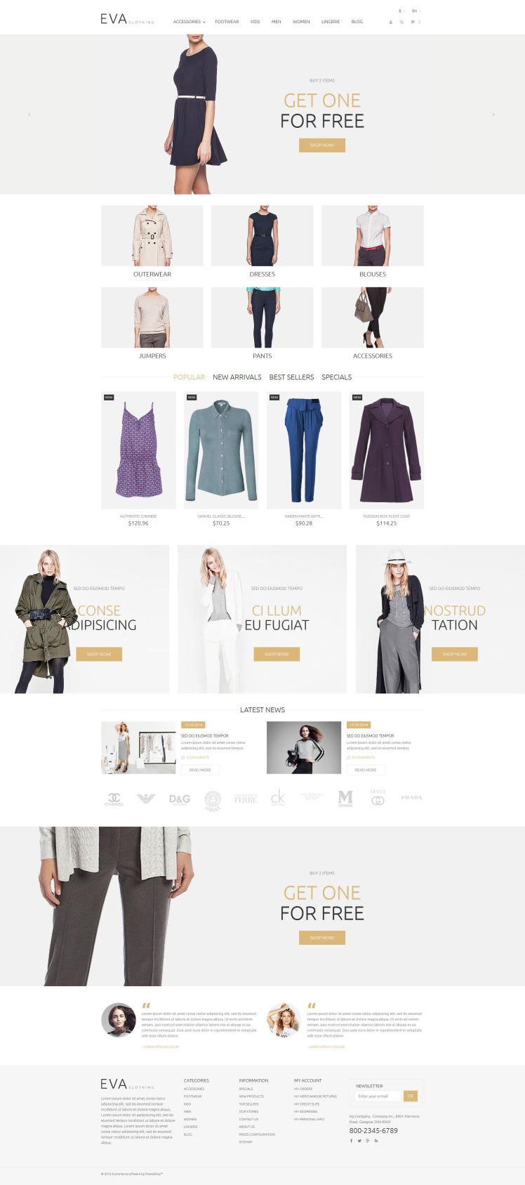 EVA Clothing PrestaShop Themes