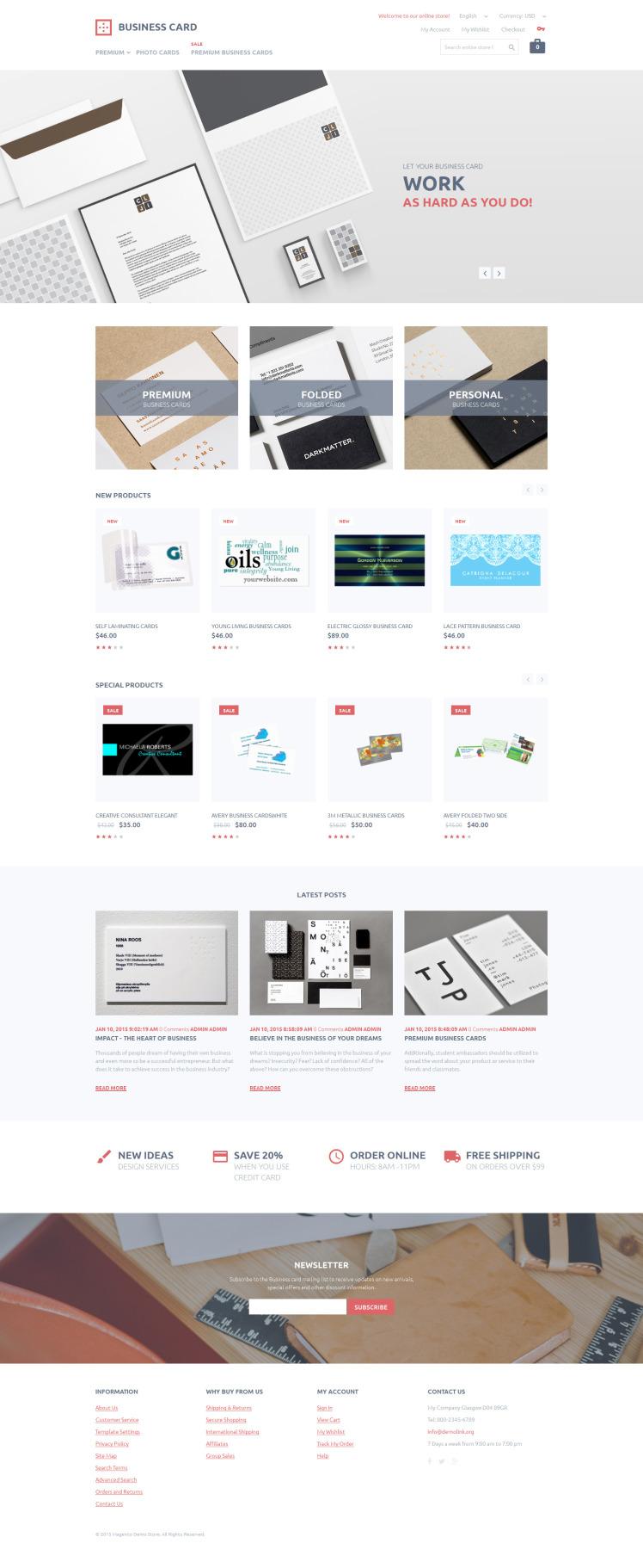 Business Card Printing Magento Themes