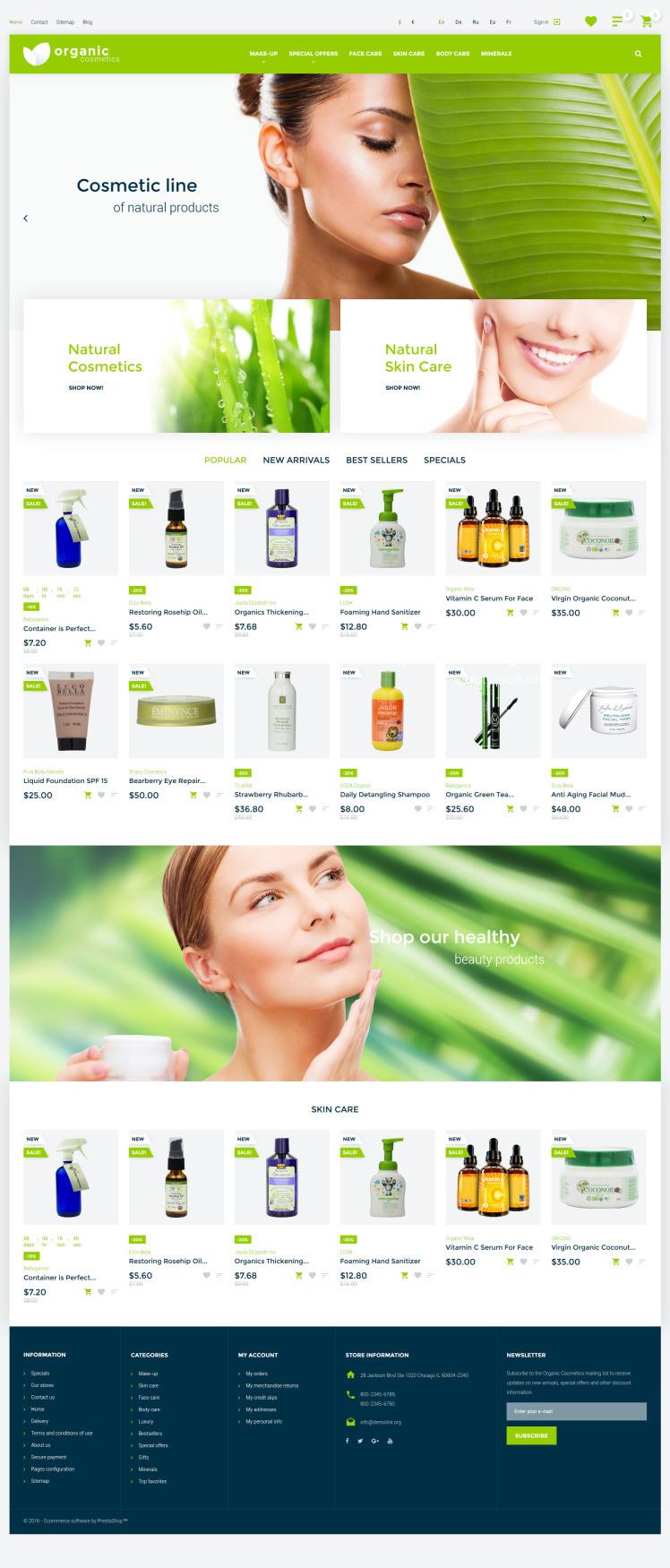 Organic cosmetics responsive PrestaShop Themes