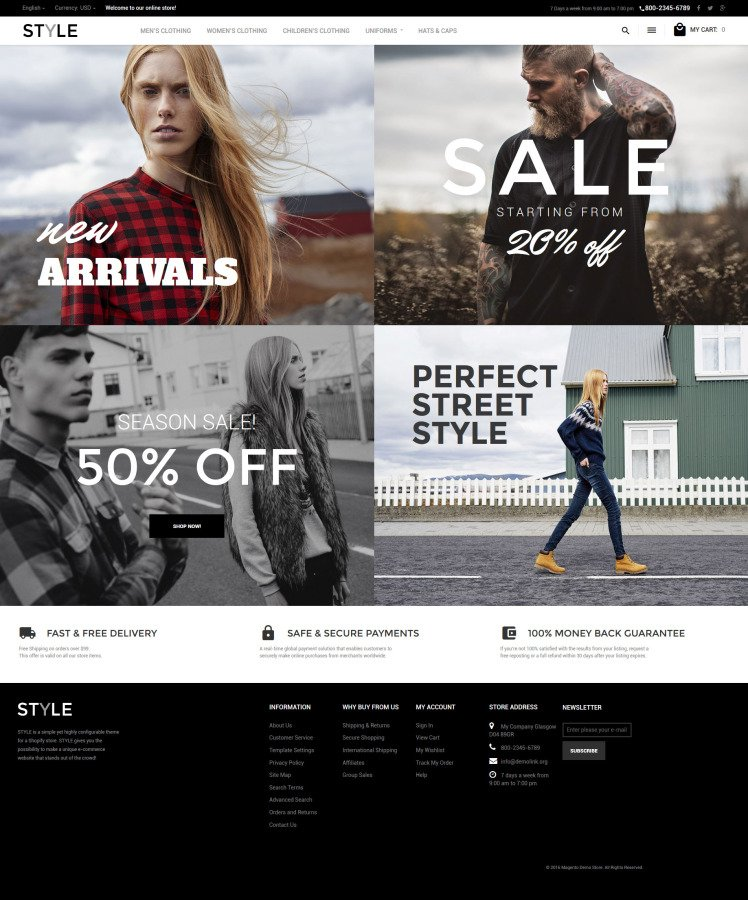Style Fashion Clothes Magento Themes