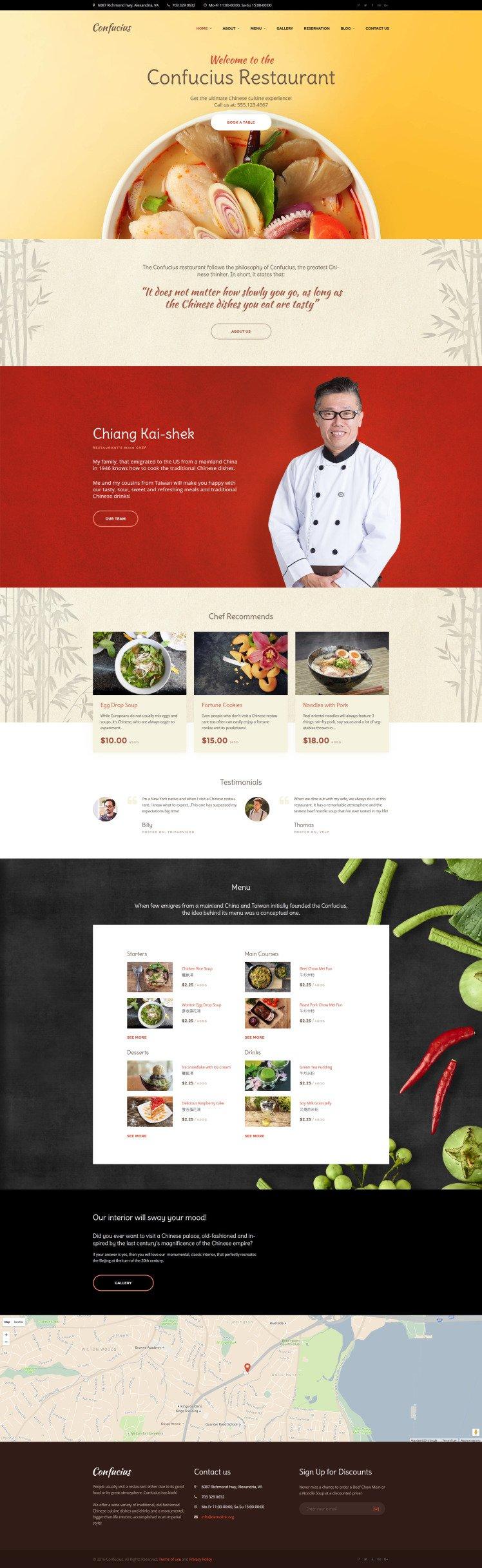 Confucius Chinese Restaurant Responsive WordPress Themes