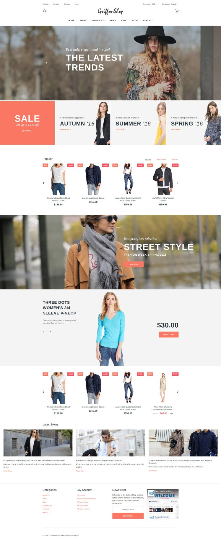 Griffon Shop Apparel PrestaShop Themes
