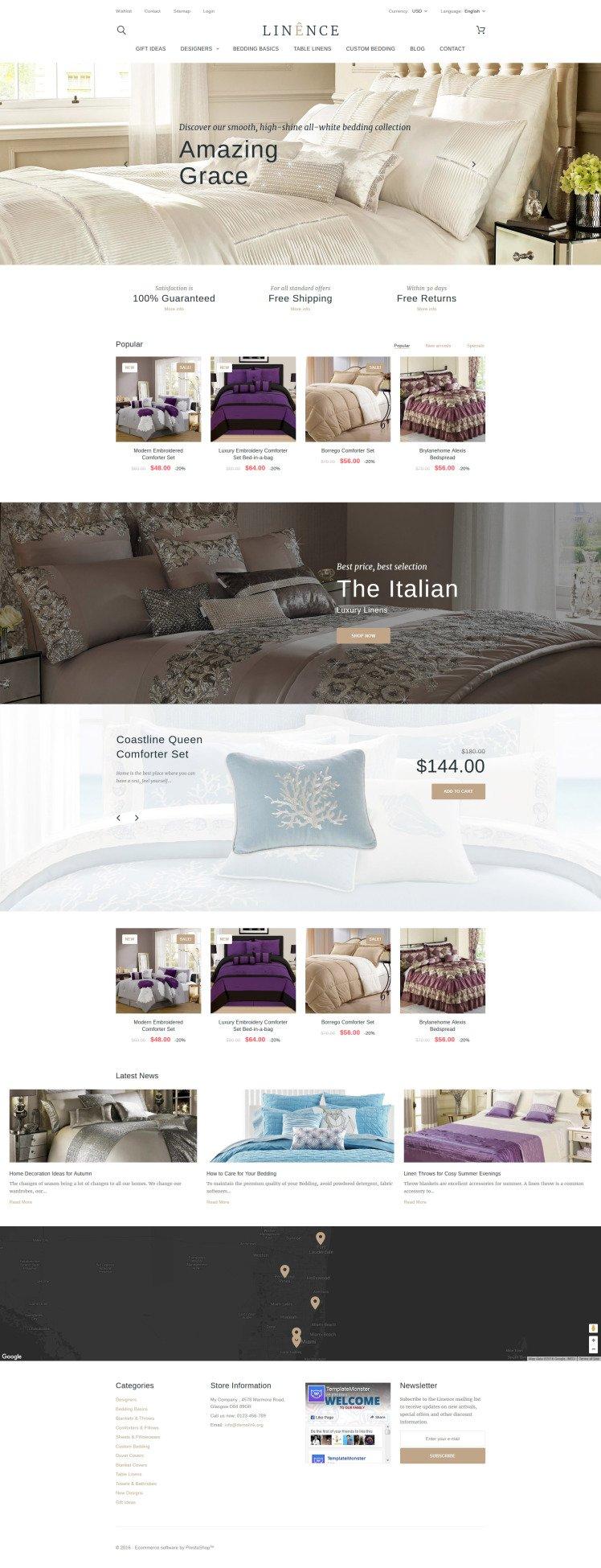 Linence Bed Linen PrestaShop Themes