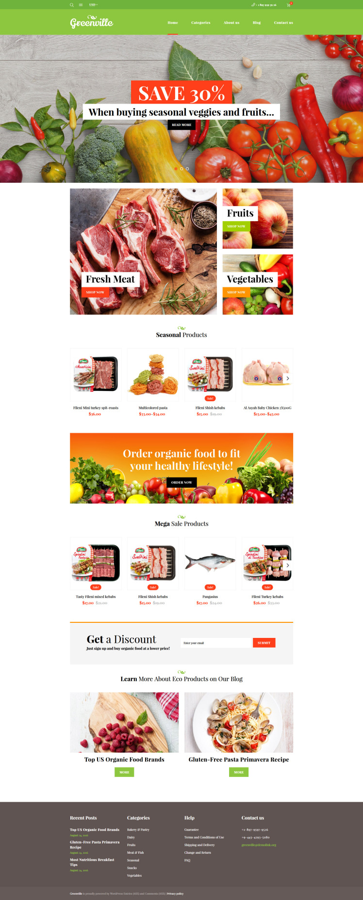 Greenville Organic Food Restaurant WooCommerce Themes