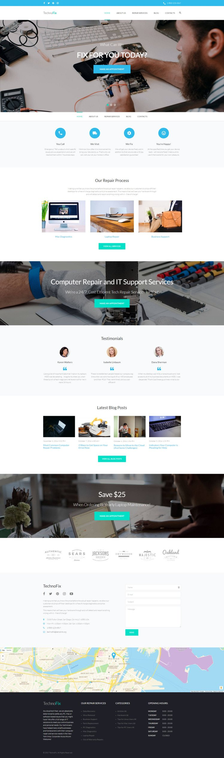 TechnoFix Tech Repair Company Responsive WordPress Themes