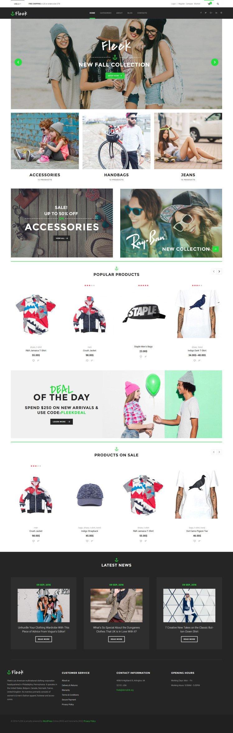 Fleek Urban Fashion Store WooCommerce Themes